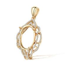 Real Diamond 14K Yellow Gold Fine Jewelry Oval Cut 12x9.5mm to 14x11mm Pendant