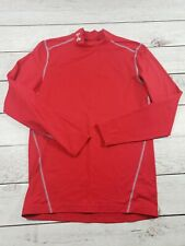 Mens Small Under Armour cold gear compression long sleeve Red shirt K7