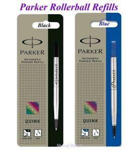 Genuine Parker ROLLERBALL Refill Meduim Fine Ultra Fine BLACK or BLUE QUINK FLOW