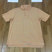 Peter Millar Seaside Wash Men's Short Sleeve Polo Golf Striped Cotton Shirt Sz L