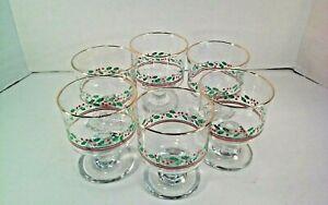6 Vintage Christmas Arby's Holly Berries Sherbet Eggnog Wine Glasses Gold Rim