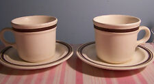 2 Brown Stripe Stoneware Cup and Saucer Set USA