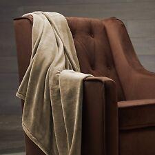 Solid Beige Blanket Bedding Throw Fleece Full Super Soft Warm