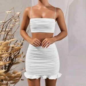 Women Two Piece Set Bodycon Dress Ruffles Off Shoulder Crop Top Summer Dress