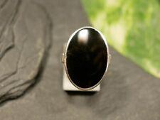Hübscher 925 Sterling Silber Ring Oval Schwarz Email Groß Vintage
