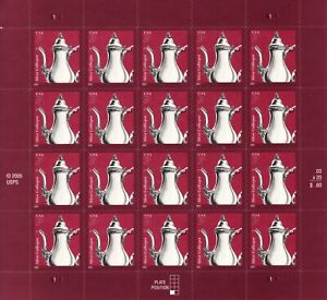 SILVER COFFEE POT STAMP SHEET -- USA #3754 3 CENT
