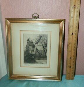 Vintage Leonard Mersky Etching Ltd Ed 49/200 Robertson's Windmill Williamsburg