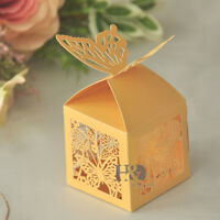 12pcs Gold Butterfly Laser Cut Candy Gift Boxes With Wedding Party Favor Boxes