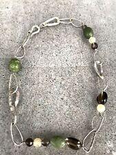 Silpada Sterling Silver, Jade, Citrine, Smokey Quartz Link Necklace