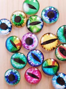 10 x Große Augen Cabochons ♥ zum Basteln/Schmuckherstellung Glas Rund Ø 25mm