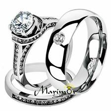 Cz Bridal Set & Men Zirconia Wedding Band His & Her 3 Pc Stainless Steel 2.75 Ct