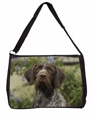 German Wirehaired Pointer Large Black Laptop Shoulder Bag School/Coll, AD-GWP1SB