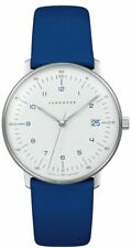 Junghans 047/4540.00 Women's Blue Leather Strap Max Bill 33mm Quartz Watch