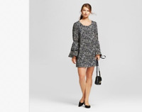 NEW Women's Printed Bell Sleeve Dress - A New Day Black Size XS