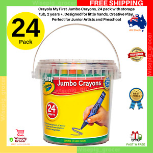 Crayola My First Jumbo Crayons With Storage Tub 24 pack NEW FREE SHIPPING AU