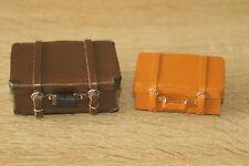 2 Koffer Lederkoffer Handarbeit 1:12  Zubehör Miniatur Puppenstube Diorama