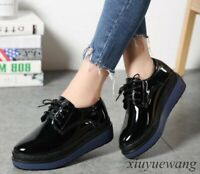 Platform Creepers Womens Patent Leather Wedge Heel Lace Up Casual Pumps Shoes SZ