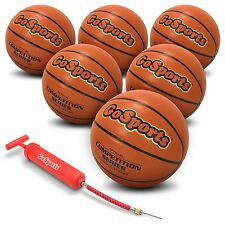 6 x Indoor Synthetic Leather Competition Basketball + Pump & Bag [Sz 7]