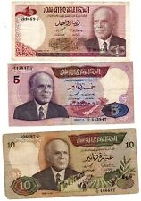 LOT SET SERIE 3 Billets Tunisie TUNISIA 1 - 5 - 10 DINARS 1980 - 1986 BOURGUIBA