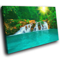 SC275 Green Blue Waterfall Nature Landscape Canvas Wall Art Large Picture Prints