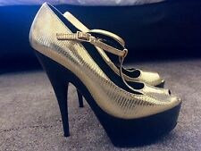 OFFICE Shoes Size 6 Gold Platform Party disco stripper Heels