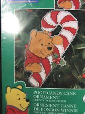 "Christmas Disney Plastic Canvas ""Pooh Candy Cane"" Ornament"