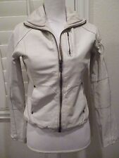 G-STAR RAW Ladies Cowhide leather jacket moto biker zip up Cream SZ S