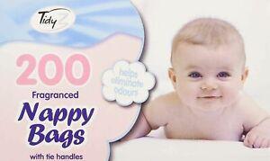 200 Disposable Fragranced Nappy Bags Baby Tie Handle Diaper Bin Sacks Scented UK