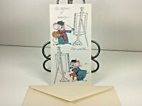 """Vintage Mid Century 1950's Greeting Card Mouse""""Get Well"""" w Envelope"""