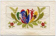 Carte postale Brodée . Patriotique . Les alliés. allies .Embroidered .Patriotic