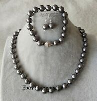 Schmuckset- 10mm dunkel grau Muschel Perle halskette Armband & Ohrringe