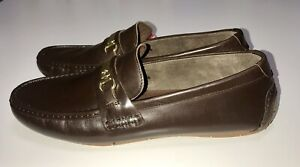 New Cole Haan Summers Gold Metal Bit Driver Leather Men's Size 11.5 Brown