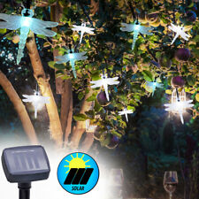 Set of 2 RGB LED Solar String Lights Garden Color Changing 10x Dragonflies Lamps