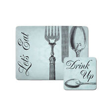 Set Of 8 Lets Eat Cork Placemats And Coasters Drinks Dining Dinner Table Mats