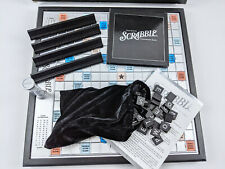 SCRABBLE Deluxe ONYX Edition w/Turntable Black & Silver Wood Tiles 2006 Complete