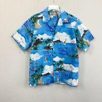 Hilo Hattie Sailboat Palm Tree Island Vacation Hawaiian Button Up Shirt Mens XL