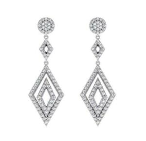 Hanging Chandelier Earrings SI1 G 1.50 Ct Natural Round Diamond 14K White Gold