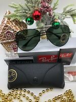 New Ray-Ban Aviator 62mm Black RB3026 L2821 Green G-15 lenses Sunglasses