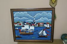 "Vintage Hand Made Long Stitch Needlepoint 16"" x 19"" - 18""x22"" Framed Boats"