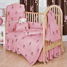 BROWNING BUCKMARK PINK & BROWN CRIB SET, BABY BEDDING 6 PIECES!