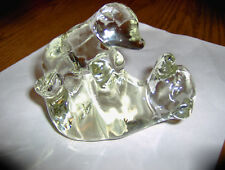 Polar Bear & Baby Clear Glass Paperweight