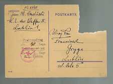 1944 Lublin Concentration Camp KZ Germany Poland Postcard Cover Jan Sowinski