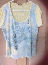 ladies lemon Per Uno size 16 short sleeved top