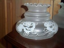 Frosted Glass Lamp Shade Hand Painted White Flowers GWTW Parlor Light Globe