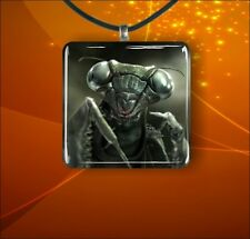 """Insect Life Close Up Face Black Praying Mantis Glass 1"""" Pendant Necklace -gvb7Z"""