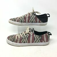 Sanuk Sneakers Casual Shoes Low Top Lace Up Aztec Print Canvas Red Black Mens 13