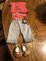 American Girl Isabelle Meet Outfit Pants Tee Undies Sandals EUC RETIRED No Doll