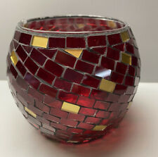 Red Mosaic Candle Holder Gold Accents
