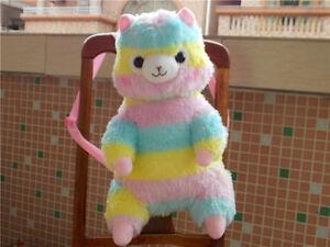 17'' Alpacasso Arpakasso Backpack Rainbow Stripe Llama Alpaca Plush Bag