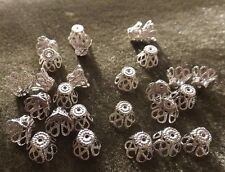 DAINTY FILIGREE BEAD CAP 9X7 MM  SILVER PLATED 25 PIECES
